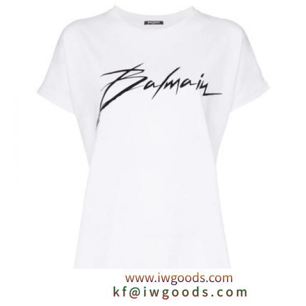 【SALE!】BALMAIN ブランド 偽物 通販/ロゴプリント Tシャツ ホワイト iwgoods.com:cfg2es