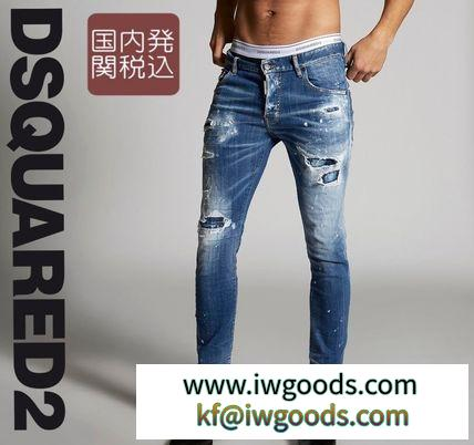 *DSQUARED2 激安スーパーコピー *Ripped White ブランドコピー商品 Spots Skater Jeans iwgoods.com:m7acr5-3