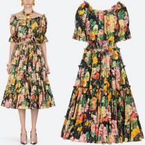 19SS DG1872 FLORAL PRINT COTTON OFF SHOULDER DRESS iwgoods.com:2cyqj8