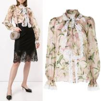 DG2083 LILY PRINT SILK BLOUSE WITH LACE TRIM iwgoods.com:wrcjvi