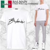 BALMAIN 偽ブランド t-shirt with logo embroidery iwgoods.com:it25eh