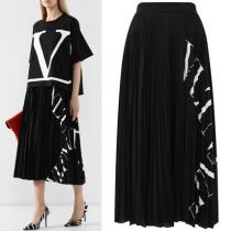 V1759 VLTN GRID PLEATED JERSEY SKIRT iwgoods.com:u612k5