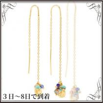 関税込◆Gold-plated multi-stone earrings iwgoods.com:kbjol7