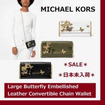 ◆MK◆Butterfly Embellished Leather Convertible Chain Wallet iwgoods.com:l5m0ax